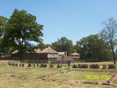 Foreground is the outline of the original fort, background is the current fort